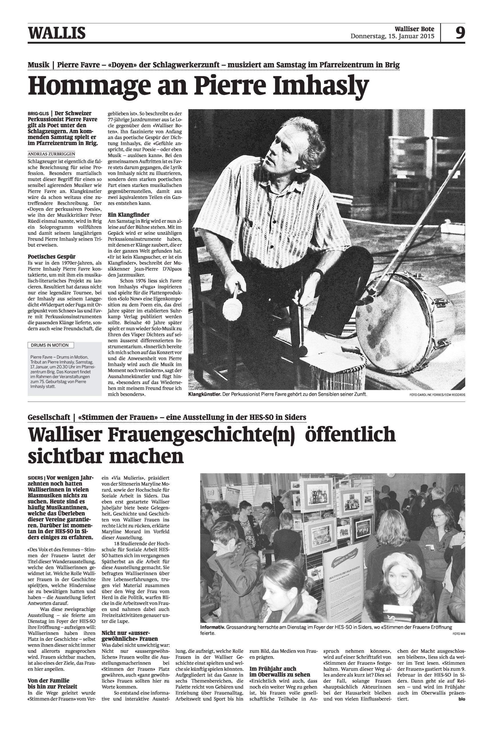 «Stimmen der Frauen» , compte rendu du vernissage de l'exposition
