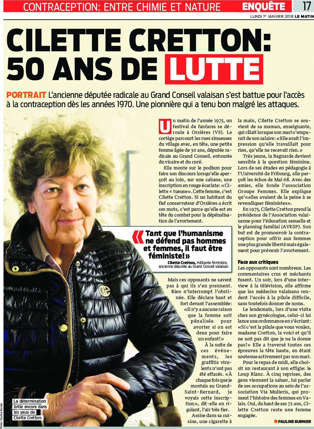 Cilette Cretton : 50 ans de lutte