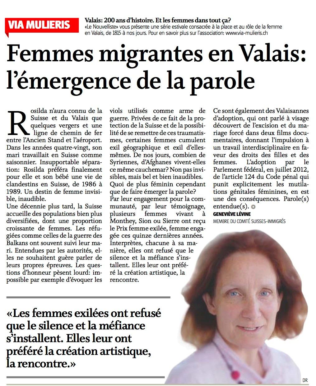 Femmes migrantes en Valais : l'émergence de la parole