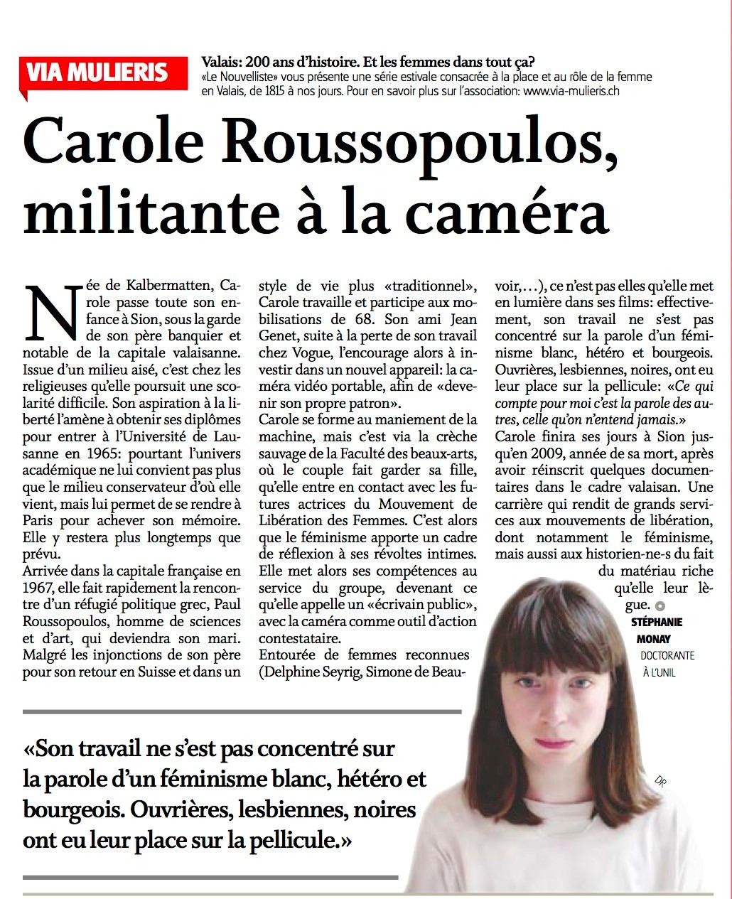 Carole Roussopoulos, militante à la caméra