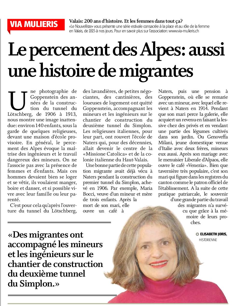 Le percement des Alpes : aussi une histoire de migrantes