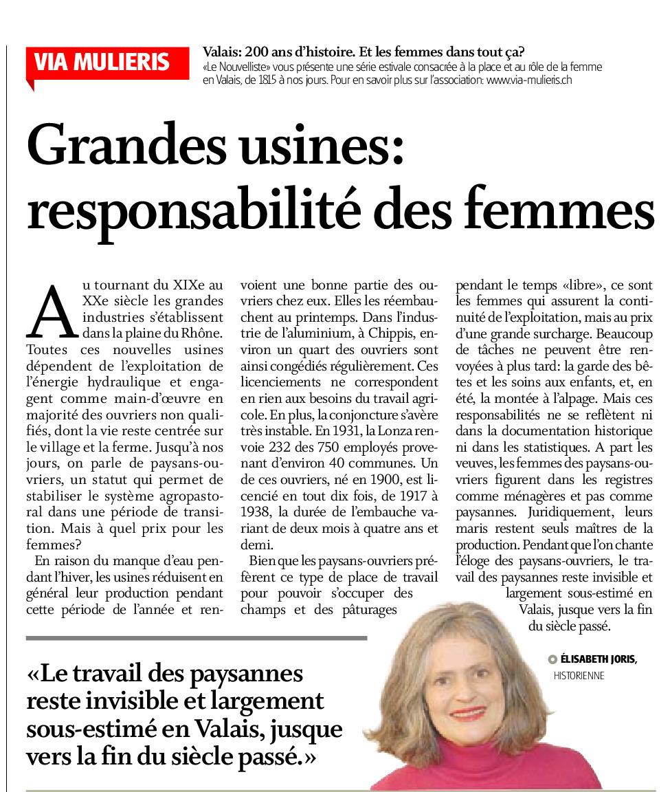 Grandes usines : responsabilités des femmes