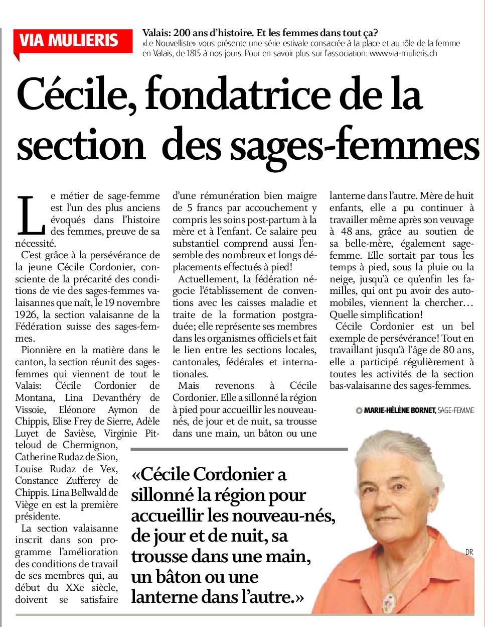 Cécile, fondatrice de la section des sages-femmes
