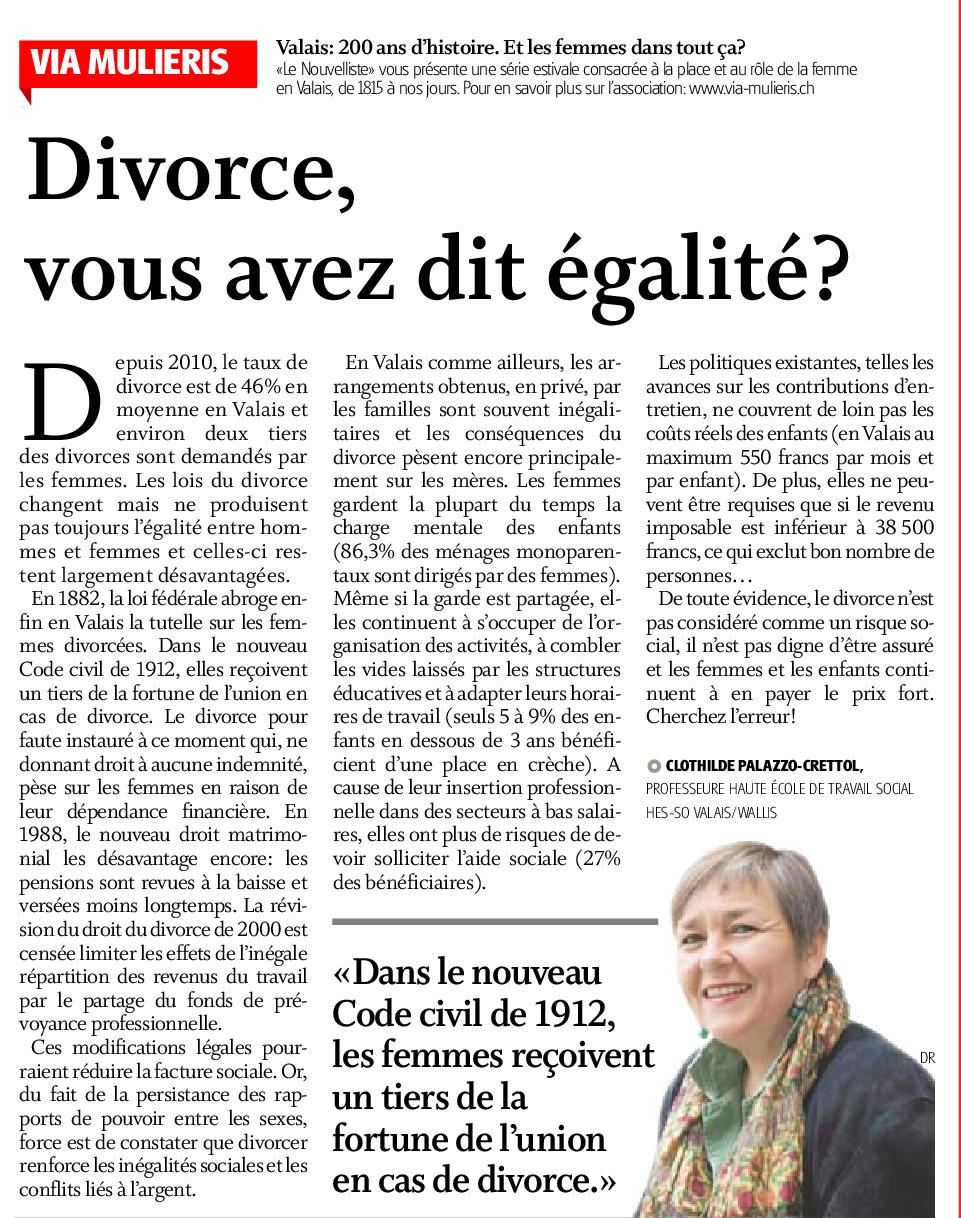 Divorce, vous avez dit égalité ?