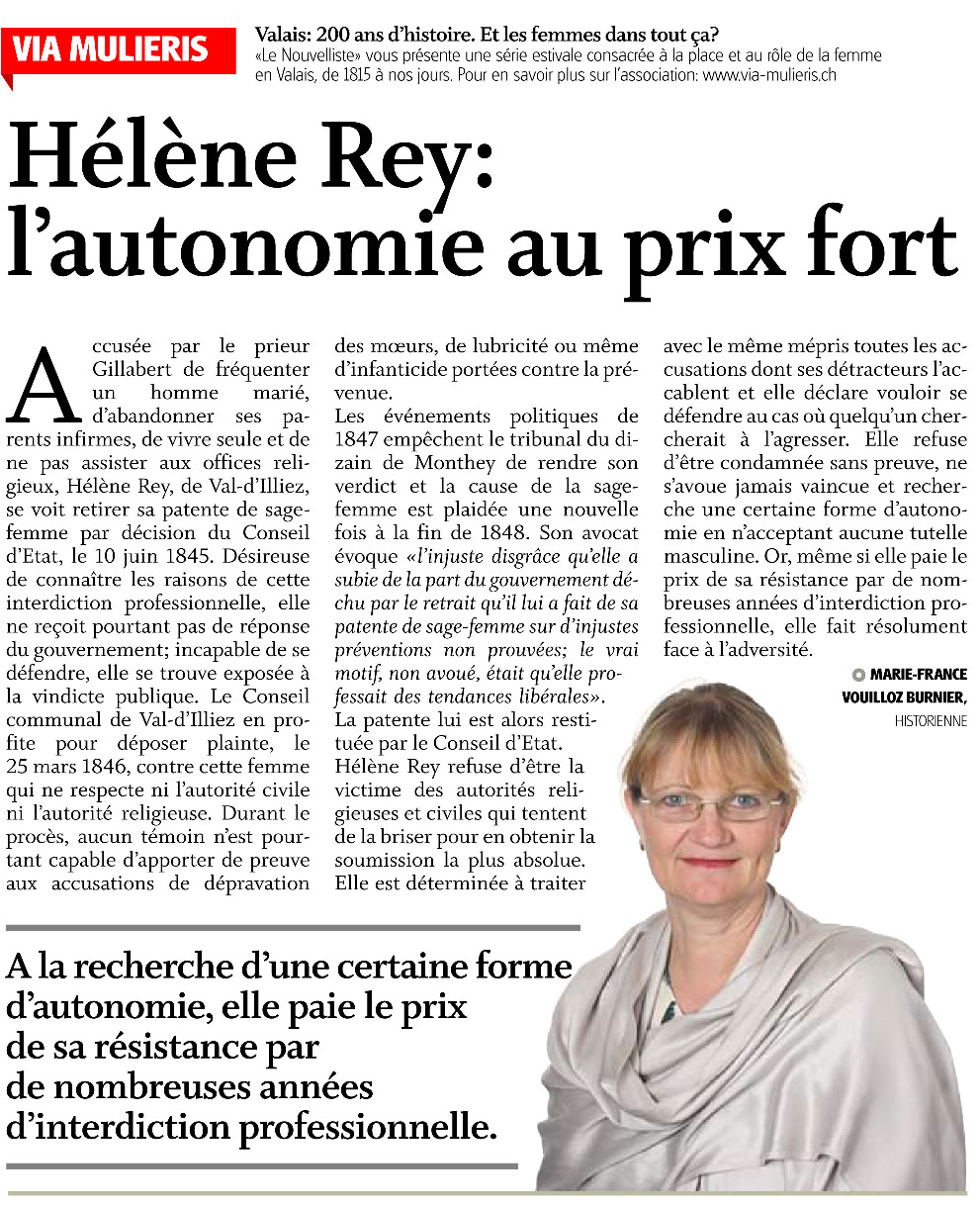Hélène Rey, l'autonomie au prix fort